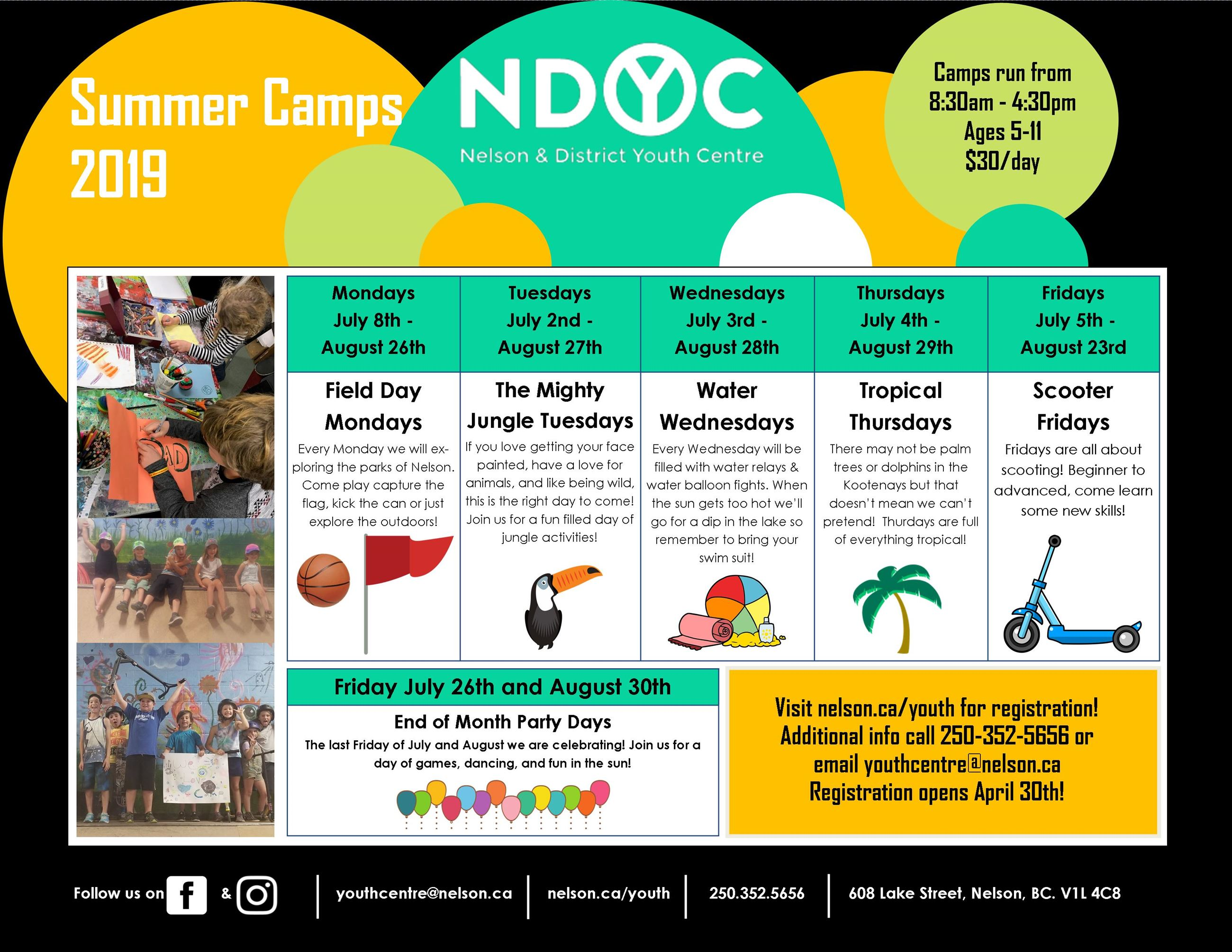 Summer Camp Schedule 2019